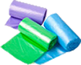 roll of bags in different colours